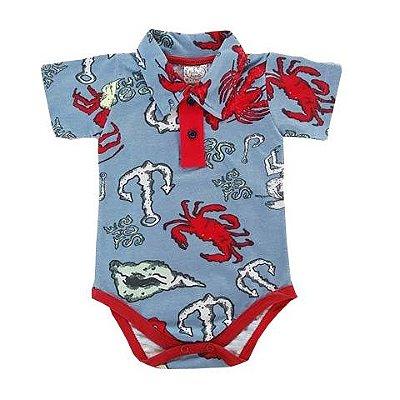Body Bebê Gola Polo Azul Estampado Fundo do Mar