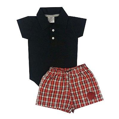 Conjunto Bebê Body Gola Polo Preto com Shorts Xadrez Vermelho e Branco
