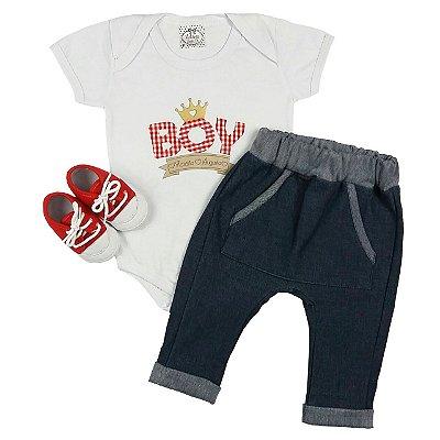 Kit Bebê Conjunto Body Boy + Calça Saruel Jeans + Sapato Vermelho