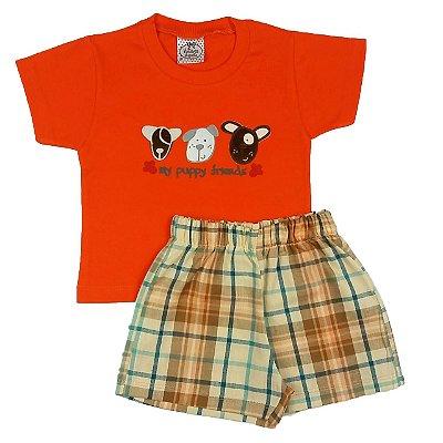 Conjunto Bebê Short Xadrez com Camiseta Laranja
