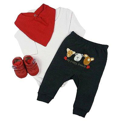 Kit Bebê Conjunto Body Cotton Branco + Calça Saruel + Babador + Tênis Vermelho