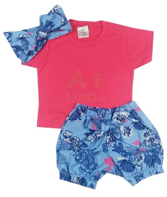 Conjunto Bebê Camiseta Pink com Shorts Floral e Turbante