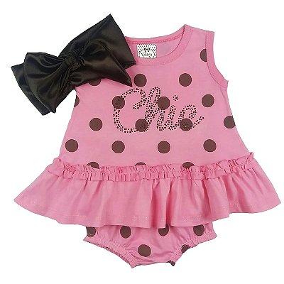Vestido Bebê Poá Marrom e Rosa com Calcinha e Turbante Cetim Marrom