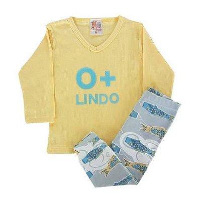 Conjunto Bebê Pijaminho De Ribana Amarelo Com Calça Estampada