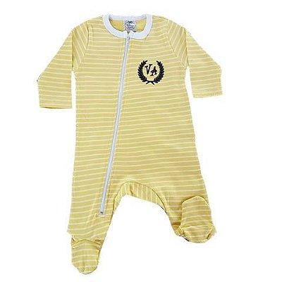 Macacão Bebê Inverno Amarelo Listrado Com Pezinho e Zipper