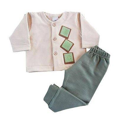 Conjunto Bebê De Inverno Casaco Manga Longa e Calça de Moletom Verde