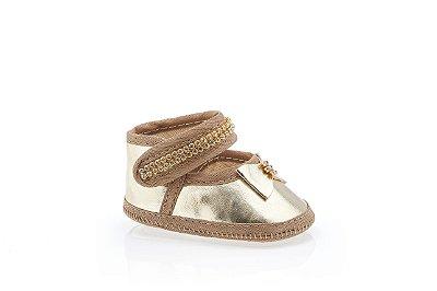 Sapato Para Bebê Dourado Com Strass