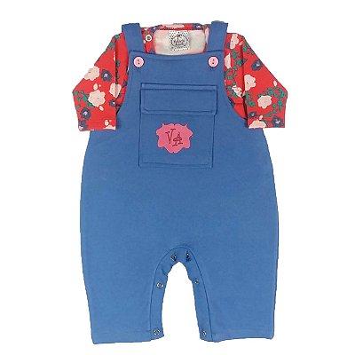 Jardineira Bebê Azul Com Camiseta Floral Estampada