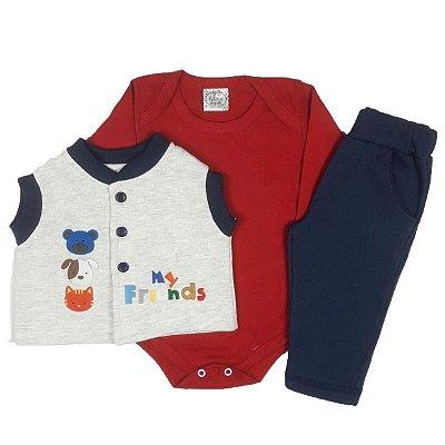 Conjunto Bebê Body Básico + Colete Moletom e Calça Azul Marinho