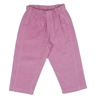 Calça Infantil Rosa Antigo de Veludo Cotelê