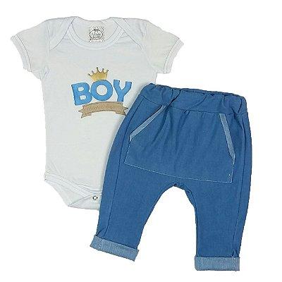 Conjunto Bebê Body Boy Com Calça Saruel Azul