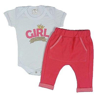 Conjunto Bebê Body Girl Com Calça Saruel Rosa