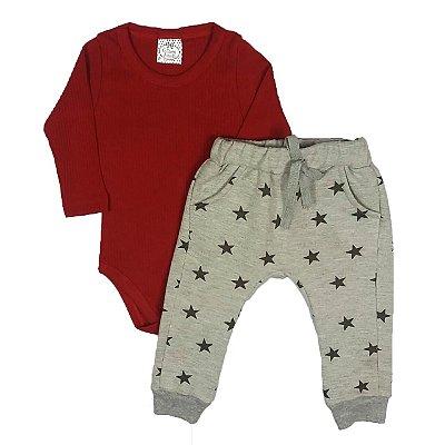 Conjunto Bebê Body Canelado Com Calça Saruel Moletom Star