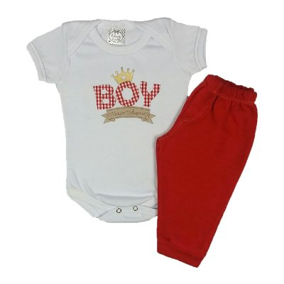 Conjunto Bebê Body Boy e Calça vermelha