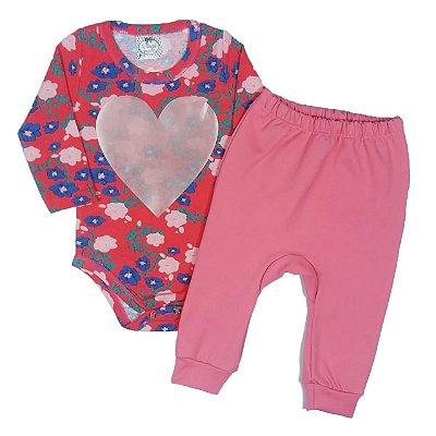 Conjunto Bebê Body Floral Com Calça de Elanca