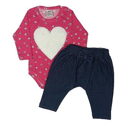 Conjunto Bebê Body Coração + Calça Saruel Jeans