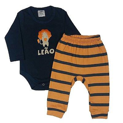 Conjunto Bebê Bodie Leão E Calça Listrada