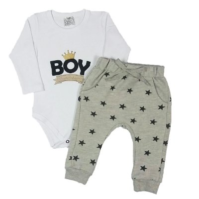 Conjunto Bebê Body Boy e Calça Estrela