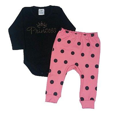 Conjunto Bebê Princess + Calça Poá Rosa