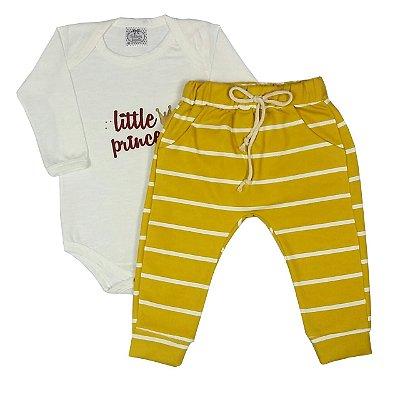 Body Bebê Little Prince + Calça Listrada