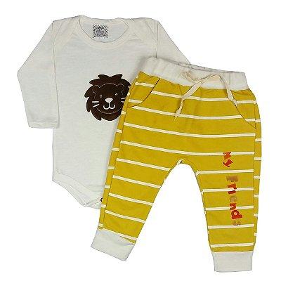 Conjunto Bebê Bodie Lion +Calça Amarela Listrada
