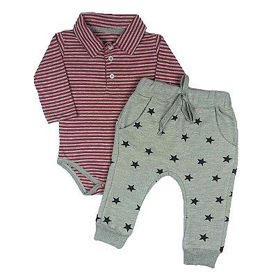 Body Polo Listrado + Calça Saruel Estrelas