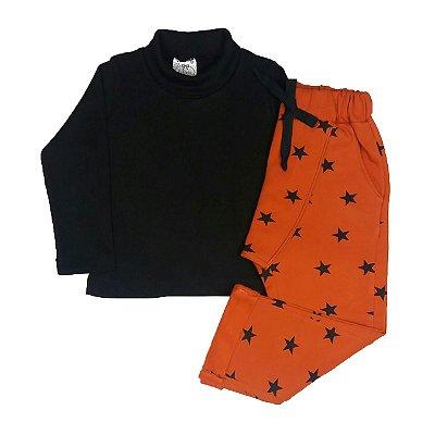 Conjunto Infantil Blusa Gola Rolê + Calça Estrelas Laranja