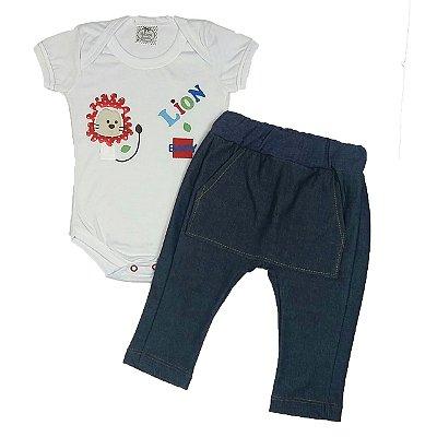 Conjunto Bebê Body Lion e Calça Saruel Jeans