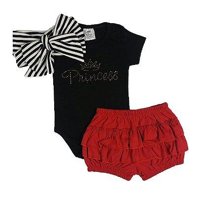 Conjunto Bebê Body Princess + Shorts Babado + Turbante