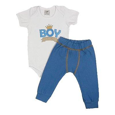 Conjunto Bebê Body Boy + Calça Boxer
