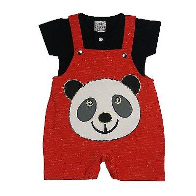 Jardineira Bebê Panda Vermelho + Body Piquet