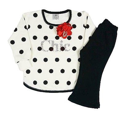 Conjunto Infantil Chic De Poá Com Flor Vermelha + Calça Flare