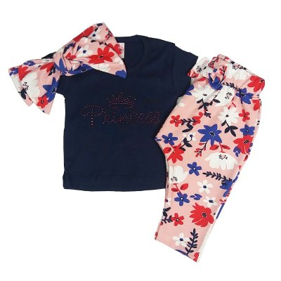 Conjunto Bebê Camiseta + Calça Floral + Turbante