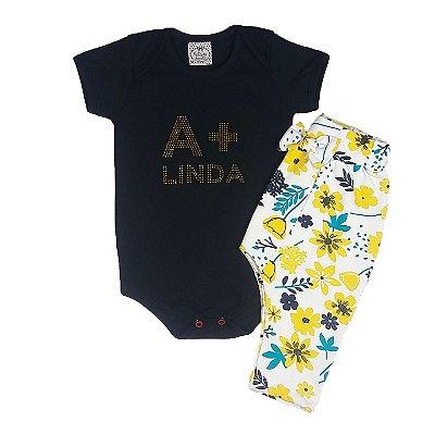 Conjunto Bebê A + Linda Com Calça Floral