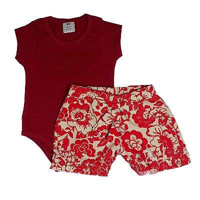 Conjunto Infantil Body + Shorts Floral Vermelho