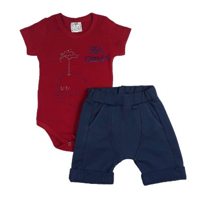 Conjunto Bebê Body Sea Friends + Bermuda Saruel