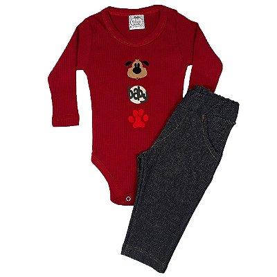 Conjunto Bebê Baby Dog + Calça Jeans Chumbo