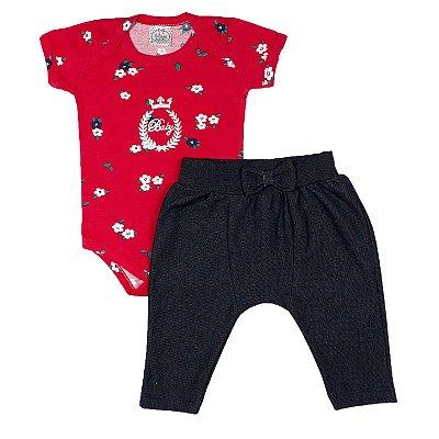 Conjunto Bebê Bodye Estampado + Calça Saruel Jeans