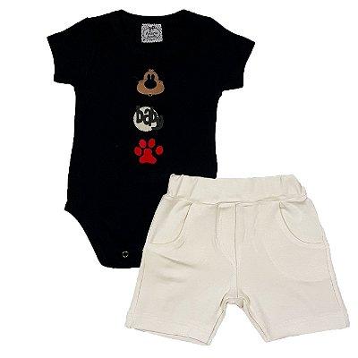 Conjunto Body Preto Au- Au +Shorts Bege
