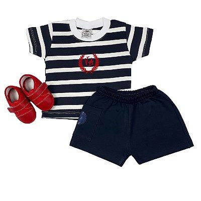 Conjunto Bebê Marinheiro + Tênis Vermelho