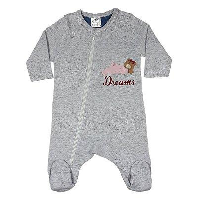 Macacão Bebê Cinza Com Pezinho Dreams