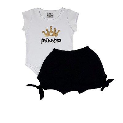 Conjunto Infantil Princess + Shorts Preto