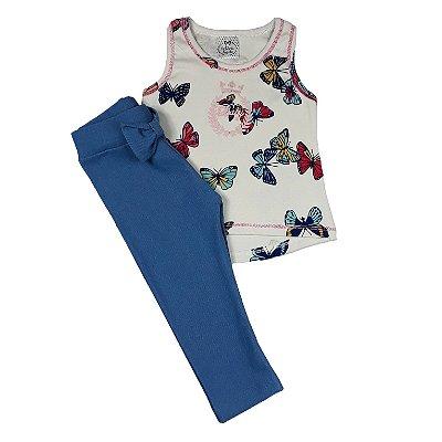 Conjunto Infantil Regata Borboletas + Legging Azul