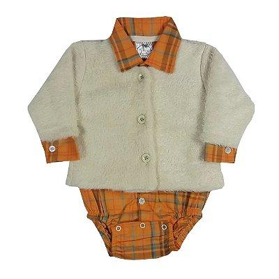 Conjunto Bebê Casaco Pelo + Body Tecido