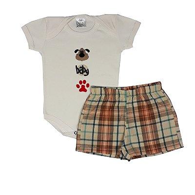 Conjunto Bebê Baby Dog + Shorts Xadrez