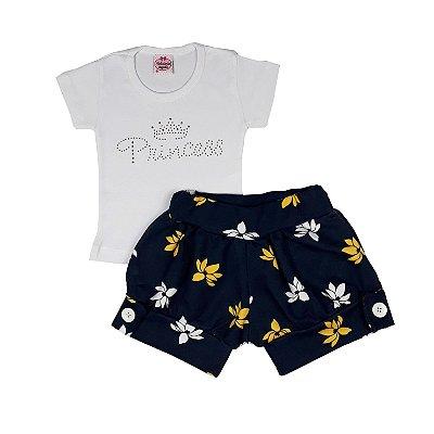 Conjunto Bebê Camiseta Princess + Shorts Floral