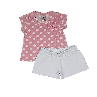 Conjunto Infantil Blusa Poá + Shorts Branco