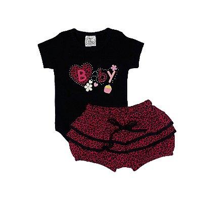 Conjunto Bebê Body Baby + Shorts Onça Rosa
