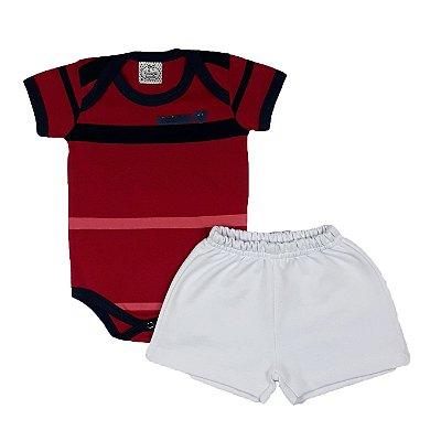 Conjunto Bebê Bodye Listras + Shorts Branco