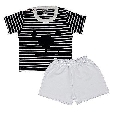 Conjunto Bebê Camiseta Dog + Shorts Branco
